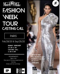 FASHION WEEK TOUR :PARIS CASTING AND RUNWAY WORKSHOP